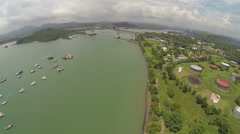 Aerial view of Bridge of the Americas across The Panama Canal - stock footage
