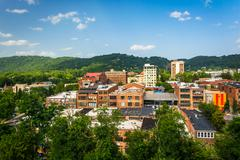 Stock Photo of view of buildings from a parking garage in asheville, north carolina.