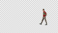 Yong male in red walking (on alpha channel) - stock footage