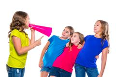 Megaphone leader kid girl shouting friends Kuvituskuvat