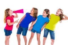 Stock Photo of megaphone leader kid girl shouting friends