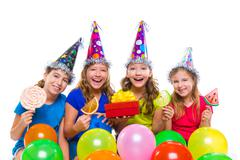 happy kid girls birthday party balloons candy - stock photo