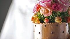 Gourmet tiered wedding cake at wedding reception. Stock Footage