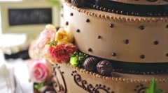 Gourmet tiered wedding cake at wedding reception. Stock Footage