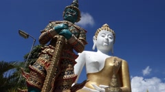 Budha and statue Stock Footage