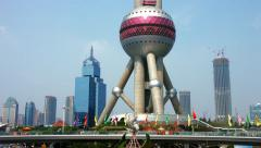 Oriental Pearl Tower in Pudong District, Shanghai, China, BlackMagic 4K Camera Stock Footage