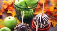 Caramel apples - stock footage