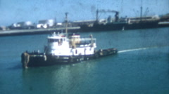 Old Vintage Film 1956 Okinawa Japan- Tug Boat Harbor View Port Shipping Industry Stock Footage