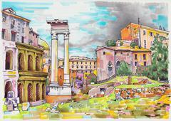original marker painting of Rome Italy cityscape - stock photo