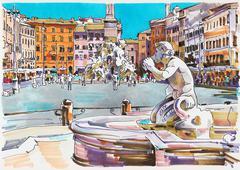 original marker painting of Rome Italy cityscape - stock illustration