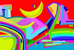 Original digital art abstract colorful composition Stock Illustration