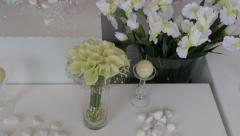 Florist bouquet compositions arrangements with flower Stock Footage
