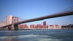 Brooklyn bridge day panoramic 4k time lapse from new york Stock Footage