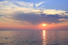 Scenic sunset over the Aegean Sea. - stock photo