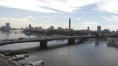 Nile River, Bridge and Cairo Tower Stock Footage