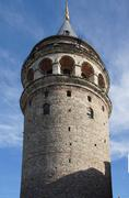 Galata tower  originally built as a fire watchtower  in istanbul, turkey. Stock Photos