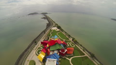 Aerial view of Frank Gehry's Museum of Biodiversity in Panama. Stock Footage