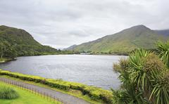Beautiful lake near the Kylemore Abbey. - stock photo