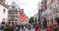 UltraHD 4K Neuhauser Strasse Munich Busy People Tourist Shopping Street Market Stock Footage