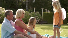 Grandparents and two granddaughters playing in park with magic wand. - stock footage