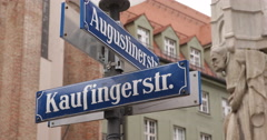 Ultra HD 4K Kaufingerstrasse Crossing Crossroad Street Sign Board Munich Stock Footage