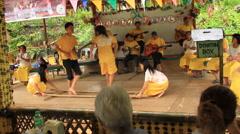 Philippine traditional Visaya bamboo dance (Tinikling) Stock Footage