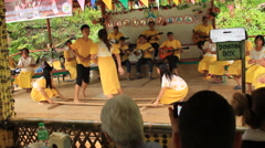 Philippine Visaya folk bamboo folk dancing Stock Footage