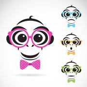 Vector image of a monkey wearing glasses on white background. Stock Illustration