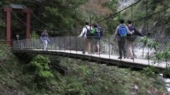 Suspension Bridge Taroko National park- Baiyang Waterfall Trail-Dan Stock Footage