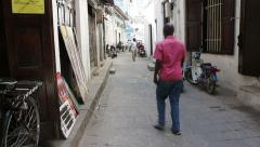 Unique narrow alleys of old Stone Town, Zanzibar Stock Footage