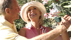 Senior couple gardening, pruning shrub. Stock Footage