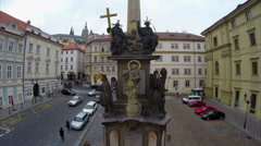 Prague castle look out, old monument of gold, god's eye Stock Footage