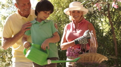 Senior couple in garden with grandson watering plants. - stock footage