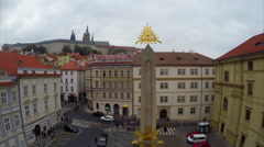 Golden Egyptian God's eye, look out to Prague's castle Stock Footage