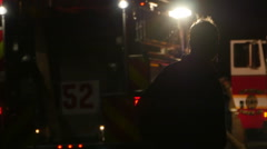 Stock Video Footage of 2465 FIre Engine Vehicles with Flashing Lights and Fire Men at House Fire, HD