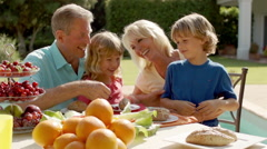 Grandparents and grandchildren playing and sitting at table of food in garden. - stock footage