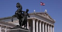 UltraHD 4K Austrian Flag Parliament Vienna Icon Architecture Landmark Sunny Day Stock Footage