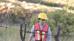Woman Worker Barbed Wire Fence Stock Footage