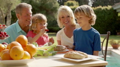Grandparents and grandchildren playing and sitting at table of food in garden. Stock Footage