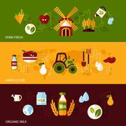 Agriculture banner set - stock illustration