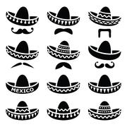 Stock Illustration of Mexican Sombrero hat with moustache or mustache icons