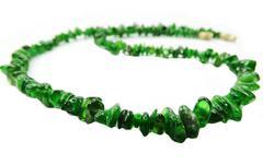chrome diopside gemstone beads necklace jewelery - stock photo