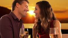 slow motion shot of mid aged couple at dinner - stock footage