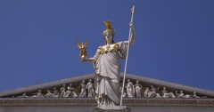 UHD 4K Austrian Parliament Front Facade Vienna Wisdom Goddess Pallas Athene Day Stock Footage