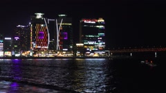 Colorful Waterfront High Rise Buildings At Night Gwangalli Beach 4K Stock Footage