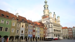 Poznan,  Town Hall in Old Market Square - stock footage