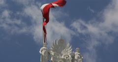 Ultra HD 4K UHD Closeup Austrian National Flag Waving Parliament Vienna Austria Stock Footage