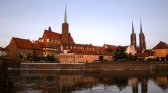 Wroclaw, View from a bank of the Odra river. - stock footage