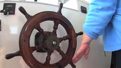 Boat Steering Wheel Being Turned Stock Footage