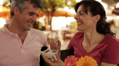 Mid aged couple in cafe Stock Footage